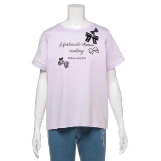 メゾピアノジュニア(mezzo piano junior)のメゾピアノ新品新作タグ付きリボンいっぱいロゴ刺しゅうTシャツ150cm(Tシャツ/カットソー)