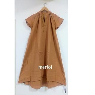 merlot - ★メルロー 麻入りAラインワンピースキャメル F