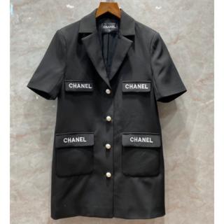 シャネル(CHANEL)のCHANEL ポケット ロゴ スーツワンピース 36(ミニワンピース)