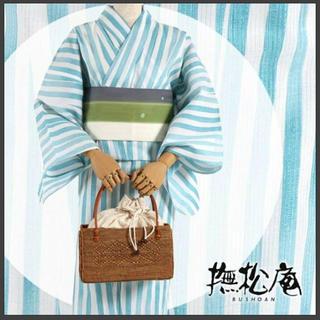 撫松庵 新品タグ付き 浴衣  ブルーストライプ M 32400円の品(浴衣)