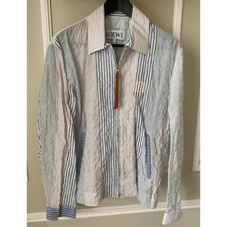 ロエベ(LOEWE)の美品 Loewe ロエベ シャツジャケット 46 ホワイト アナグラム ロゴ (ノーカラージャケット)