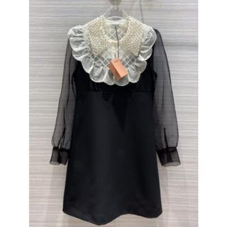 miumiu - MIUMIU かわいい真珠襟ワンピース