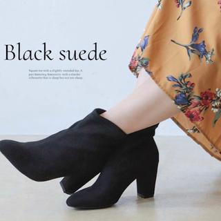 コウベレタス(神戸レタス)のセスト ショートブーツ チャンキーヒール ストレッチ ソックスブーツ ブラック黒(ブーツ)