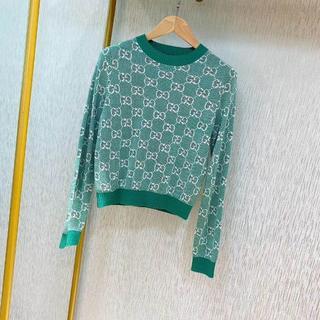グッチ(Gucci)の2020AW 新作【GUCCI】GGコットンウールピケ セーター グリーン(ニット/セーター)