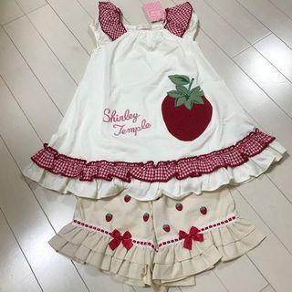 Shirley Temple - 新品イチゴ柄チュニック(ホワイト)とボトムズのセット(110 cm)