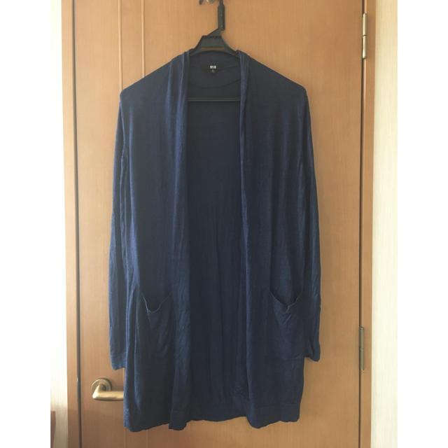 UNIQLO(ユニクロ)のユニクロUNIQLO紺 夏物 麻ロングカーディガン紺 大きいサイズXL15号 レディースのトップス(カーディガン)の商品写真