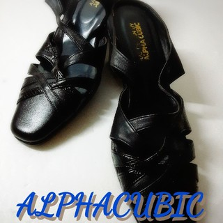 アルファキュービック(ALPHA CUBIC)のブラックのアルファキュービックサンダル23cm、EEE(サンダル)