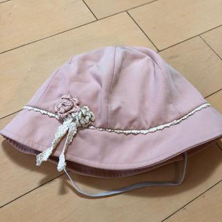 サンカンシオン(3can4on)の日除けつきピンクの帽子★ベビー50㎝★3can4on(帽子)