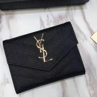 Yves Saint Laurent Beaute - 🎀サンローランYSL🎀財布 三つたたみ ブラック 本革