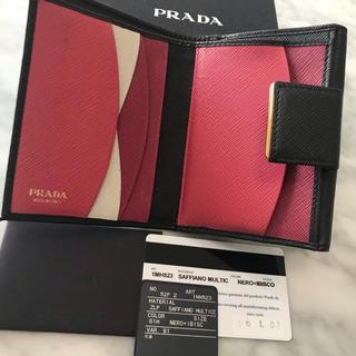 PRADA - 大人気!プラダ マルチカラー  ミニ財布 折り財布 黒 ピンク