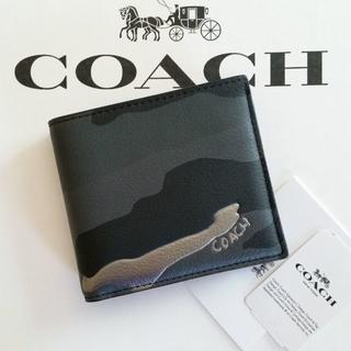 コーチ(COACH)の新品 コーチ カモフラージュ柄 折り財布 メタリック シルバー メンズ(折り財布)