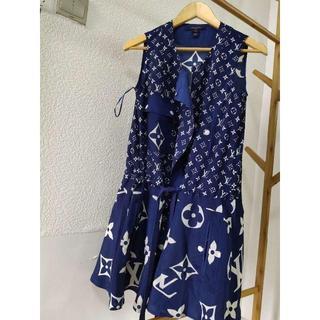 LOUIS VUITTON - Louis Vuitton LVエスカル ノースリーブドレス