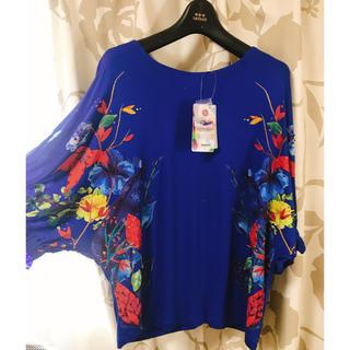 デシグアル(DESIGUAL)のタグ付きDesigualLサイズトップス肘まで袖ドルマンスリーブ花柄スパンコール(Tシャツ(半袖/袖なし))