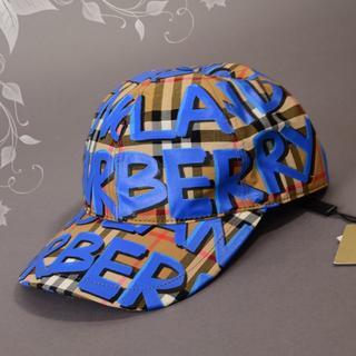バーバリー(BURBERRY)の新品♡BURBERRYバーバリー グラフティペイント キャップ帽子 ブルー(キャップ)