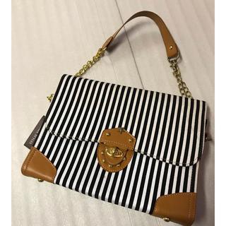 ◆新品◆黒+白ストライプ◆ハンドバッグ◆(ハンドバッグ)