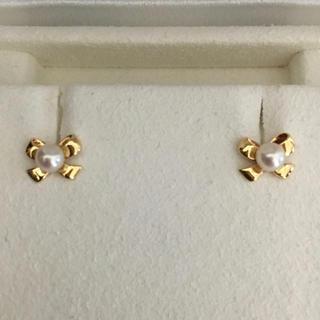 ミキモト(MIKIMOTO)のミキモト あこや真珠 ベビーパール リボン ピアス K18YG 3.5mm(ピアス)