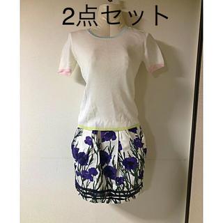 クイーンズコート(QUEENS COURT)の美品クィーンズコート☆トップス&richスカートS(カットソー(半袖/袖なし))