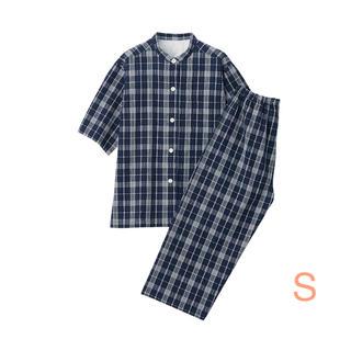 ムジルシリョウヒン(MUJI (無印良品))の無印良品   脇に縫い目のないサッカー織り半袖パジャマ 婦人・S・ネイビー×柄 (パジャマ)