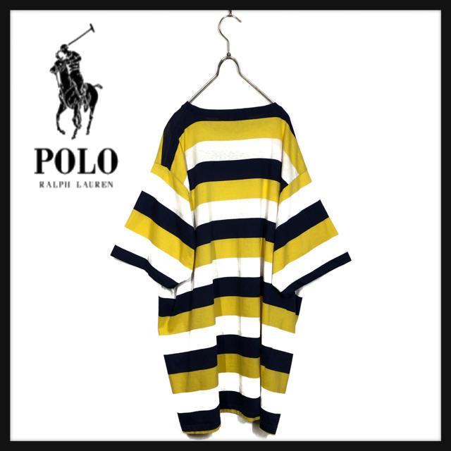 POLO RALPH LAUREN(ポロラルフローレン)の90s ヴィンテージ ポロ ラルフローレン USA製 ボーダー Tシャツ 刺繍 メンズのトップス(Tシャツ/カットソー(半袖/袖なし))の商品写真