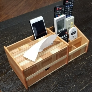 木 ティッシュ ケース  箱無し リモコン スタンド 小物入れ 引出(雑貨)