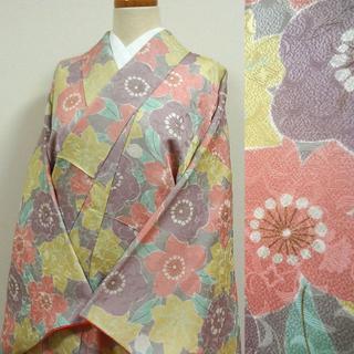 グレ―に桜や梅、楓 はんなり小紋(着物)