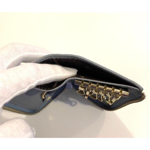最高級 本革 キーケース レディース メンズ ブルー グレー トーゴ レディースのファッション小物(キーケース)の商品写真