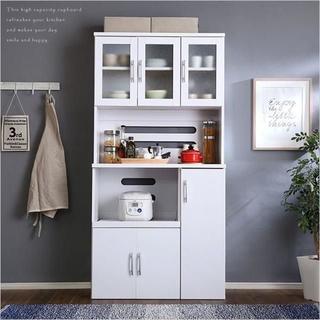 ホワイト食器棚【パスタキッチンボード】(幅90cm×高さ180cmタイプ)(キッチン収納)