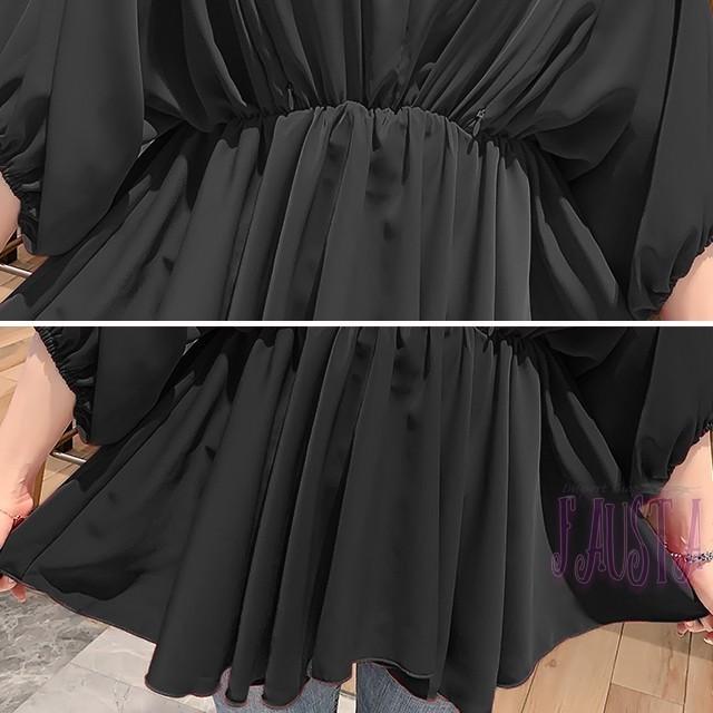 授乳服 マタニティトップス 黒 フォーマル ドレープトップス チュニック M キッズ/ベビー/マタニティのマタニティ(マタニティトップス)の商品写真
