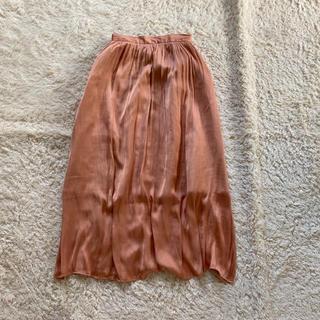 GU - ロングスカート サテン風 ピンク パール 無地 フレア