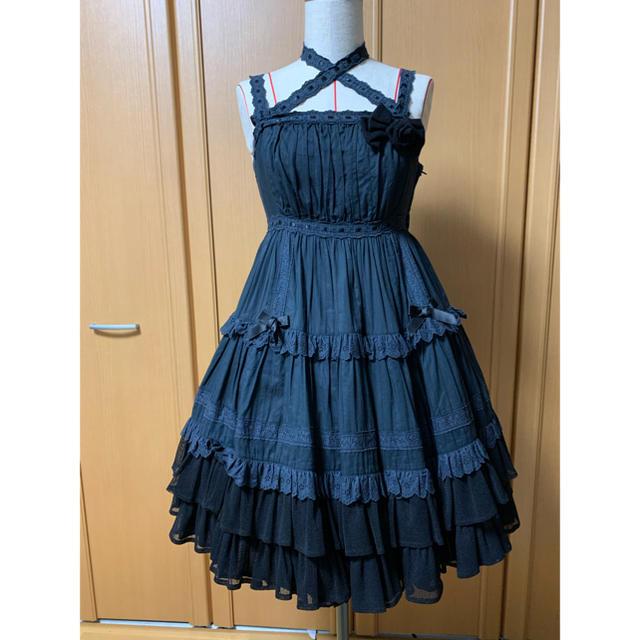 Angelic Pretty(アンジェリックプリティー)のティアードリボンフリルジャンパースカート レディースのワンピース(ひざ丈ワンピース)の商品写真