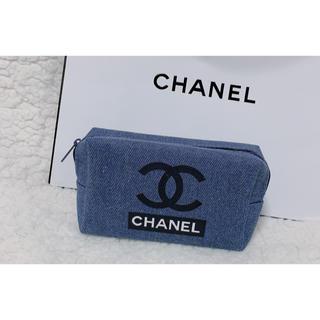 CHANEL - デニムミニポーチノベルティCHANELシャネルココマーク化粧ポーチコスメ小物入れ