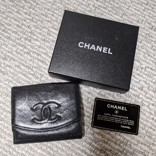 CHANEL - シャネル 二つ折り財布 ブラック