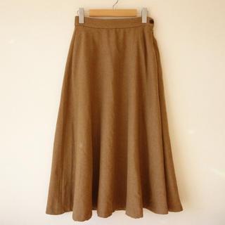 ムジルシリョウヒン(MUJI (無印良品))の無印良品 フレアロングスカート  ウール ベージュ S(ロングスカート)
