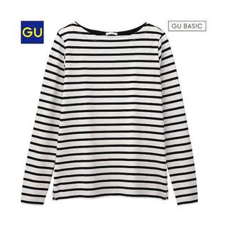ジーユー(GU)のGUボーダーボートネックT(Tシャツ(長袖/七分))