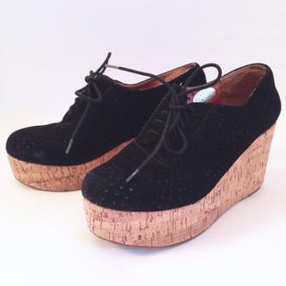 ジェフリーキャンベル(JEFFREY CAMPBELL)の厚底コルクソール本革スエードシューズ(ローファー/革靴)