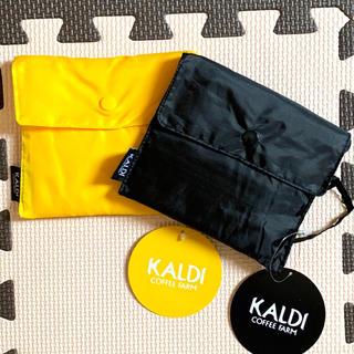 カルディ(KALDI)の(1483)☆ カルディ エコバック 黄色 黒 エコバッグ KALDY(エコバッグ)