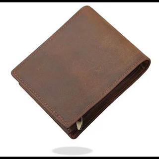 メンズ 財布 二つ折り 本革 レトロ風 財布 札入 小銭入れ スキミング防止財布(折り財布)
