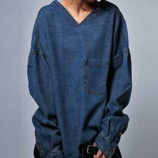 アンティカ(antiqua)のアンティカ デニム Vネックドルマンビッグシャツ カットソー(シャツ/ブラウス(長袖/七分))