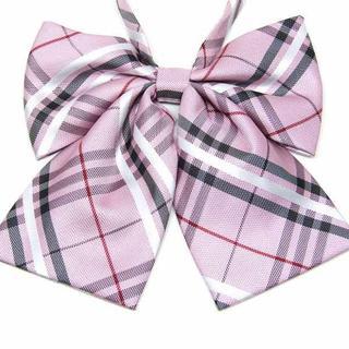 制服リボン ストライプ ピンク 上質 大きめ ふんわり //aad(ネクタイ)
