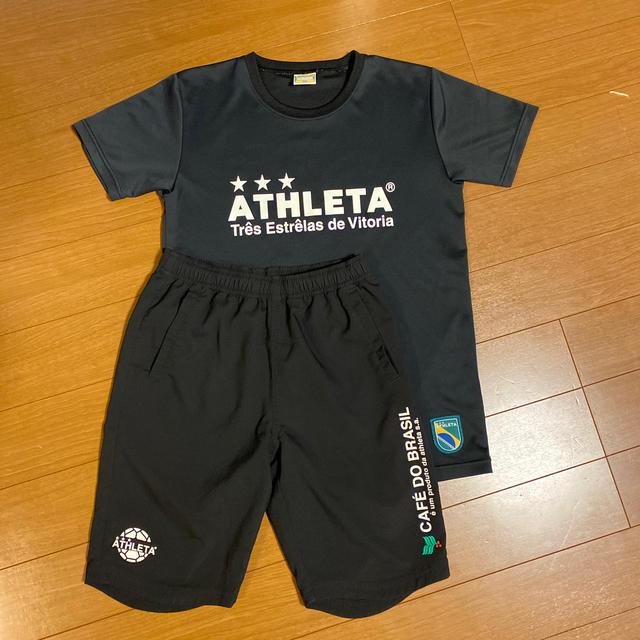 ATHLETA(アスレタ)のお値下げしました☆アスレタTシャツ 黒✖️白 上下セット スポーツ/アウトドアのサッカー/フットサル(ウェア)の商品写真
