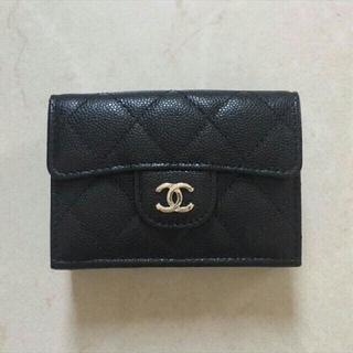 CHANEL - CHANEL 三つ折り財布 ミニ財布 ブラック スモールウォレット
