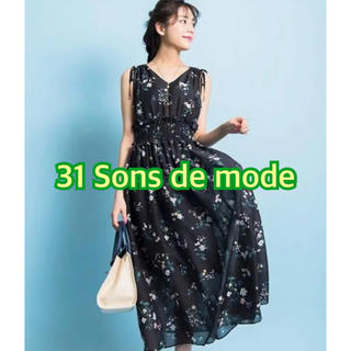 31 Sons de mode - 美品 トランテアン 花柄ワンピース 黒 こじはる