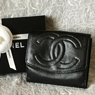 CHANEL - CHANEL キャビアスキン二つ折り財布