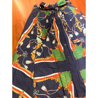 ザラ(ZARA)のZARA☆マリン柄 スカート m☆ザラ フレアスカート リボン付き(ひざ丈スカート)