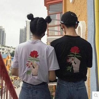 dholic - 韓国風 オルチャン 大人可愛い Tシャツ 刺繍 日韓カップル