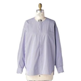 Drawer - Drawer ドゥロワー/19AWミックスストライプ ノーカラーシャツ