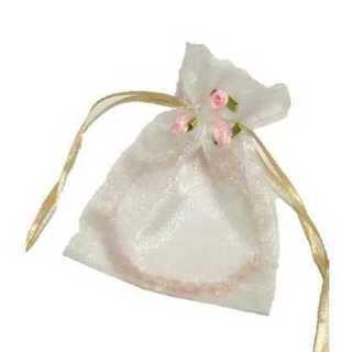 オーガンジー 巾着 小物入れ お花 付き ラッピング 小物 収納 1枚 ホワイト(カード/レター/ラッピング)