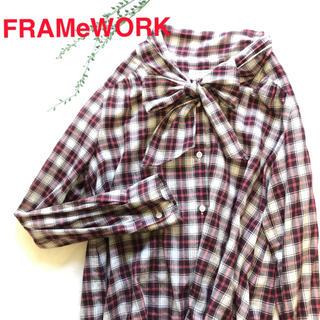 フレームワーク(FRAMeWORK)のFRAMeWORK フレームワーク ボウタイブラウス タータンチェック M(シャツ/ブラウス(半袖/袖なし))