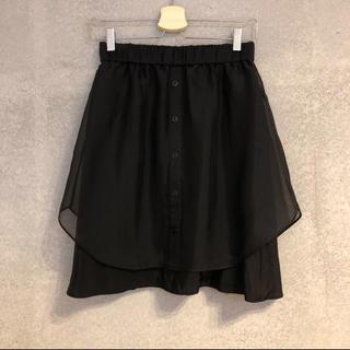 アンタイトル(UNTITLED)の美品 UNTITLED フレアスカート シースルー ブラック サイズ2(ひざ丈スカート)