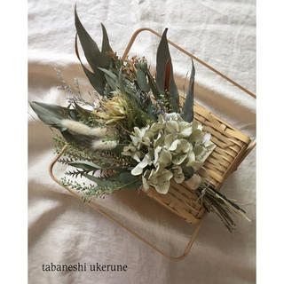 淡い紫陽花とセルリアのふんわりとした季節の草花 スワッグ ドライフラワー(ドライフラワー)